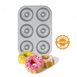 Tabuleiro - antiaderente com 6 cavidades formato donuts decora