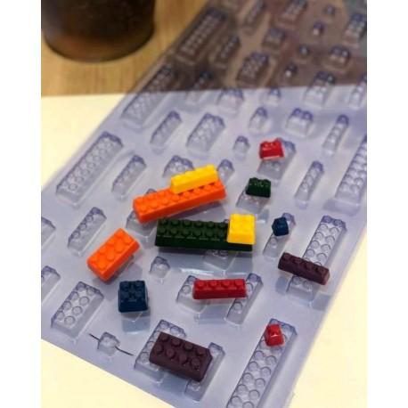 Molde em acetato para chocolate lego Porto Formas com 52x25 cms