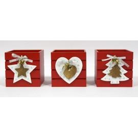 Caixa de madeira vermelha com 11x11x11 cms Natal