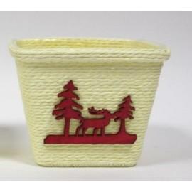 Caixa com rena e pinheirinho de Natal com 11x11 cms