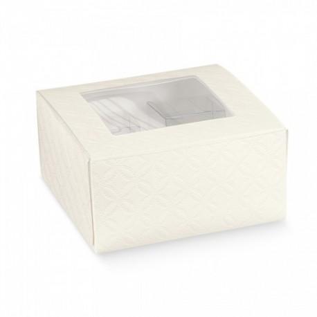 Caixa com janela branca com 12x12x6 cm