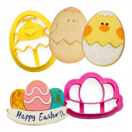 Cortante pascoa ovo e pintainho decora bolachas