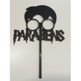 Topo de bolo em papel Harry Potter Parabéns