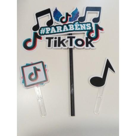 Topo de bolo em papel Tik Tok Parabéns