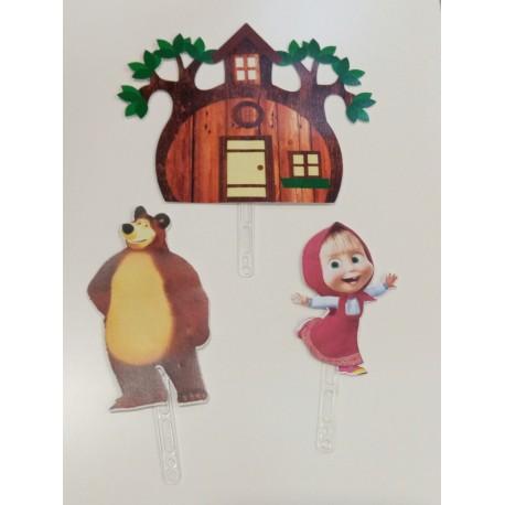 Topo de bolo em papel Masha e o urso Parabéns