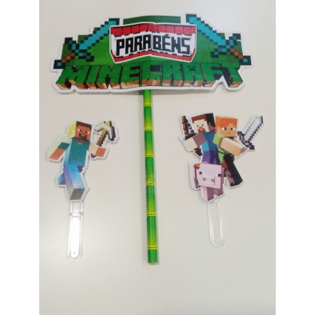 Topo de bolo em papel Parabéns Minicraft