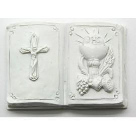 Livro com cálice-uvas-pão-centeio+cruz comunhão branco