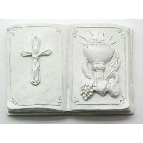 Livro com cálice uvas-pão-centeio+cruz comunhão branco