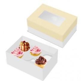 Caixa com janela 28x20 cms e divisória para 6 cupcakes