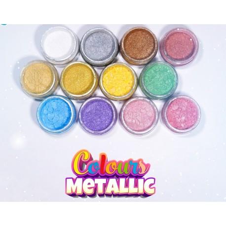 Corante em pó colours metallic 7 ml prata
