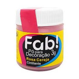Pó para Decoração rosa cereja cintilante 3g FAB