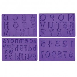 Conjunto 4 moldes silicone alfabeto e números Wilton