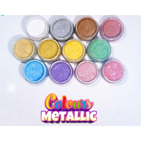 Corante em pó colours metallic 7 ml rosa